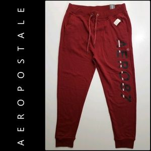 Aeropostale Women Jogger Pants Size Large Red Nwt